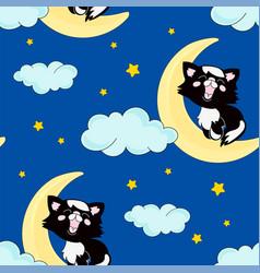 black cat sleep seamless pattern vector image