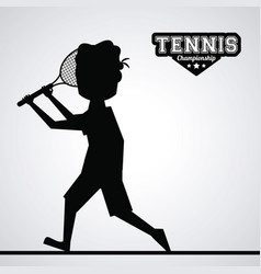 black silhouette faceless tennis player vector image