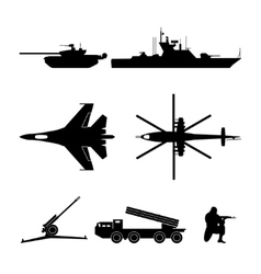 black silhouettes military equipment vector image