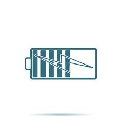 blue battery icon flat energy symbol isola vector image