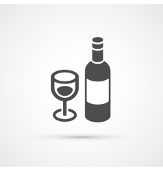 Bottle of wine trendy flat icon vector image