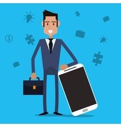 Businessman smartphone suitcase icon vector