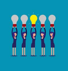 Businesswoman holding idea light bulbs above his vector