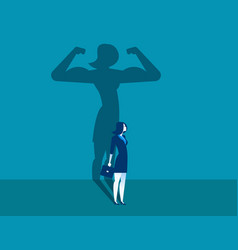 Businesswoman with a shadow and career strength vector