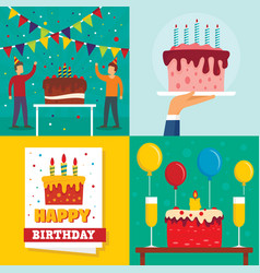 cake birthday banner set flat style vector image