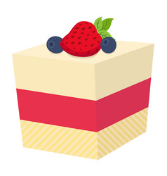 cake with berries cupcake with strawberry and vector image