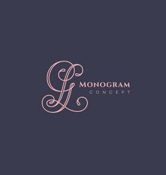 calligraphic monogram gl vector image