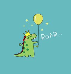cartoon little king dinosaur holding balloon vector image