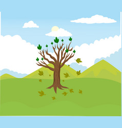cartoon tree abort leaves with mountain vector image