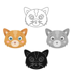 Cat muzzle icon in cartoonblack style isolated on vector