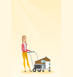 Caucasian delighted woman buying a house vector