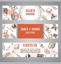 chocolate cacao sketch banners design menu for vector image