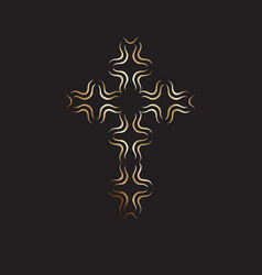 christian symbol gold modern cross icon on black vector image