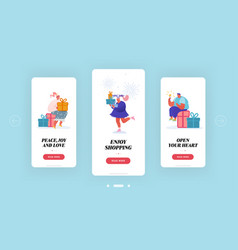 christmas new year gifts sale shopping mobile app vector image