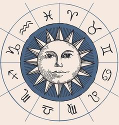 circle zodiac signs with hand drawn sun vector image