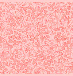 coral hand drawn flowers and dots pattern vector image