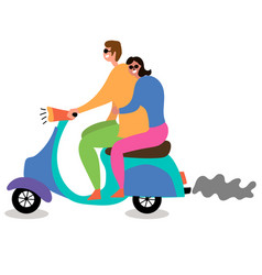 Couple in love riding a moped vector