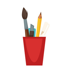 Cup with pencils and brushes vector