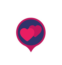 Dating service icon with hearts vector