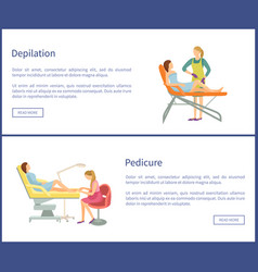 Depilation and pedicure posters text set vector