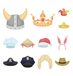 Different kinds of hats cartoon icons in set vector