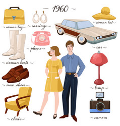 Fashion and clothes furniture and objects 60s vector