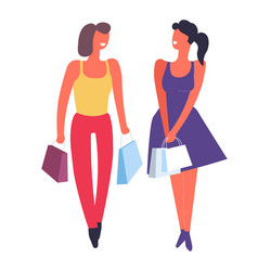 Female friends shopping together buying clothes vector