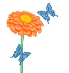 Flower daisies and butterflies vector