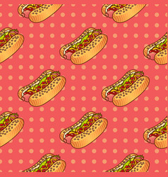 Food seamless pop pattern with hot dog for vector