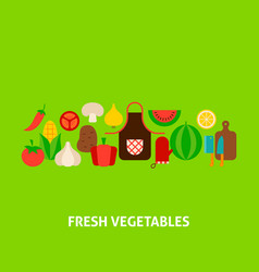 fresh vegetables greeting card vector image