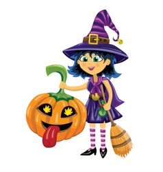 Girl in witch costume with pumpkin and broom vector