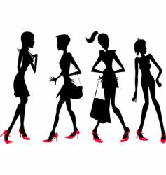 girls in silhouette vector image