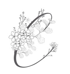hand drawn floral c monogram and logo vector image