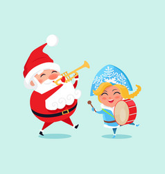 Happy father christmas grand daughter play music vector