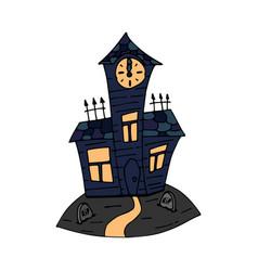 Happy halloween color icon with graveyard vector