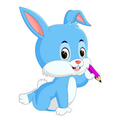 happy rabbit holding pencil vector image