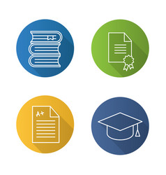 high education flat linear long shadow icons set vector image