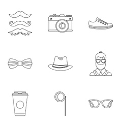 Hippie icons set outline style vector image