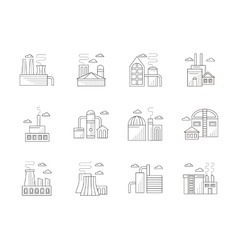 Industrial architecture flat line icons vector image