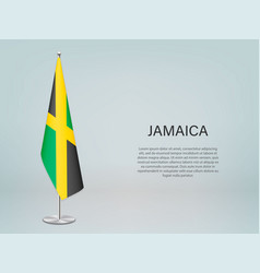 Jamaica hanging flag on stand template vector