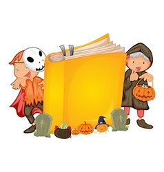 Kids in halloween costume and a book vector