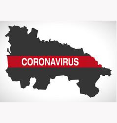 La rioja spain region map with coronavirus warning vector