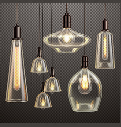 light bulbs realistic transparent vector image