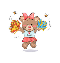 lovely teddy girl in cheerleading uniform with vector image