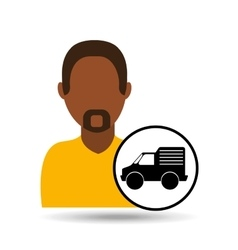 Man bearded character delivery vehicle transport vector