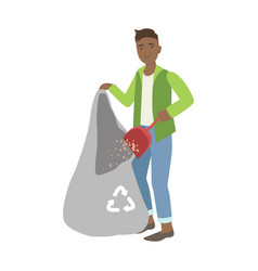 man throwing the dust into trash bag cartoon vector image
