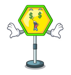 Money eye traffic sign isolated on the mascot vector