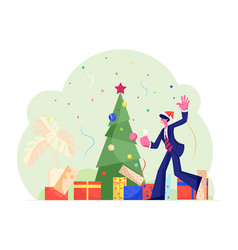 new year corporate party happy businessman joyful vector image