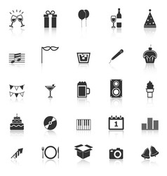 New Year icons with reflect on white background vector image