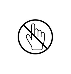 No hand cursor line icon prohibition sign vector